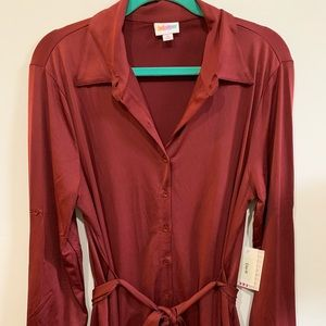 NWT Lularoe Ellie Dress Burgundy Red Size Medium